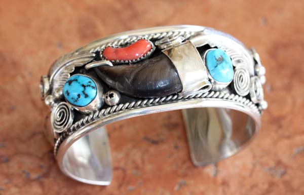 Navajo Turquosie Coral Bear Claw Bracelet