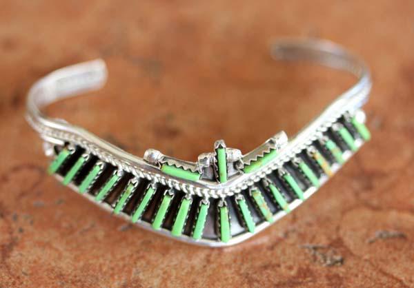 Zuni Silver Gaspeite Bracelet by Yazzie
