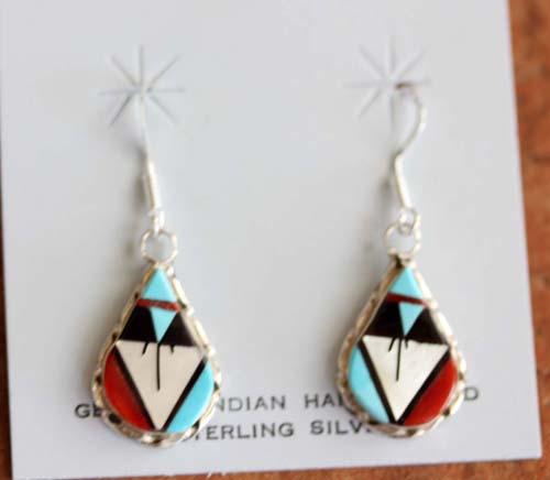 Zuni Native American Silver Multi_Stone Earrings