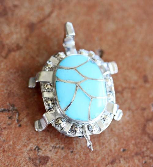 Zuni Sterling Silver Turquoise Turtle Pin/Pendant