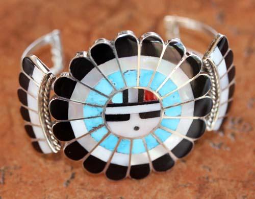 Zuni Multi_Stone Sunface Bracelet by J Massie