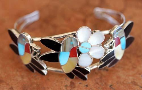 Zuni Multi_Stone Hummingbird Bracelet