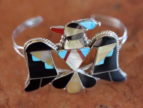 Zuni Sterling Multi_Stone Thunderbird Bracelet