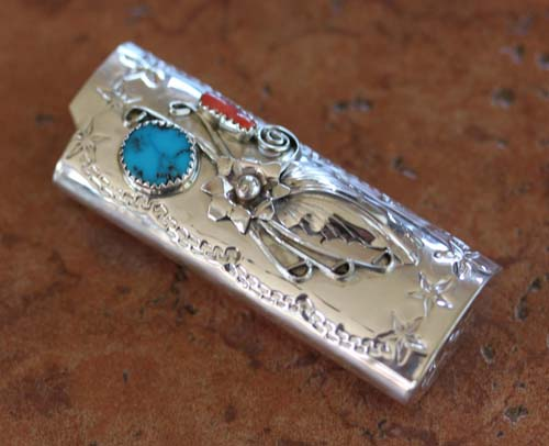 Navajo Turquoise Coral Lighter Case