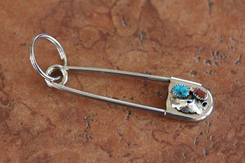 Navajo Silver Turquoise Coral Key Chain
