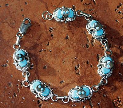 Zuni Indian Turquoise Link Bracelet by Effie C.
