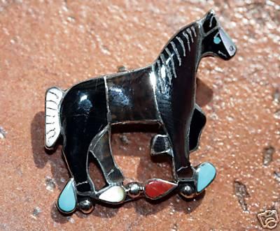Zuni Silver Horse Pin/Pendant by Carmen Leekity