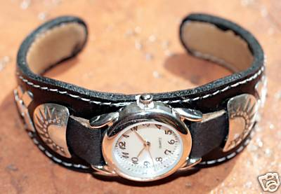 Navajo Leather Women's Watch Bracelet