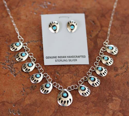 Navajo Turquoise Bear Paw Necklace and Earrings Set